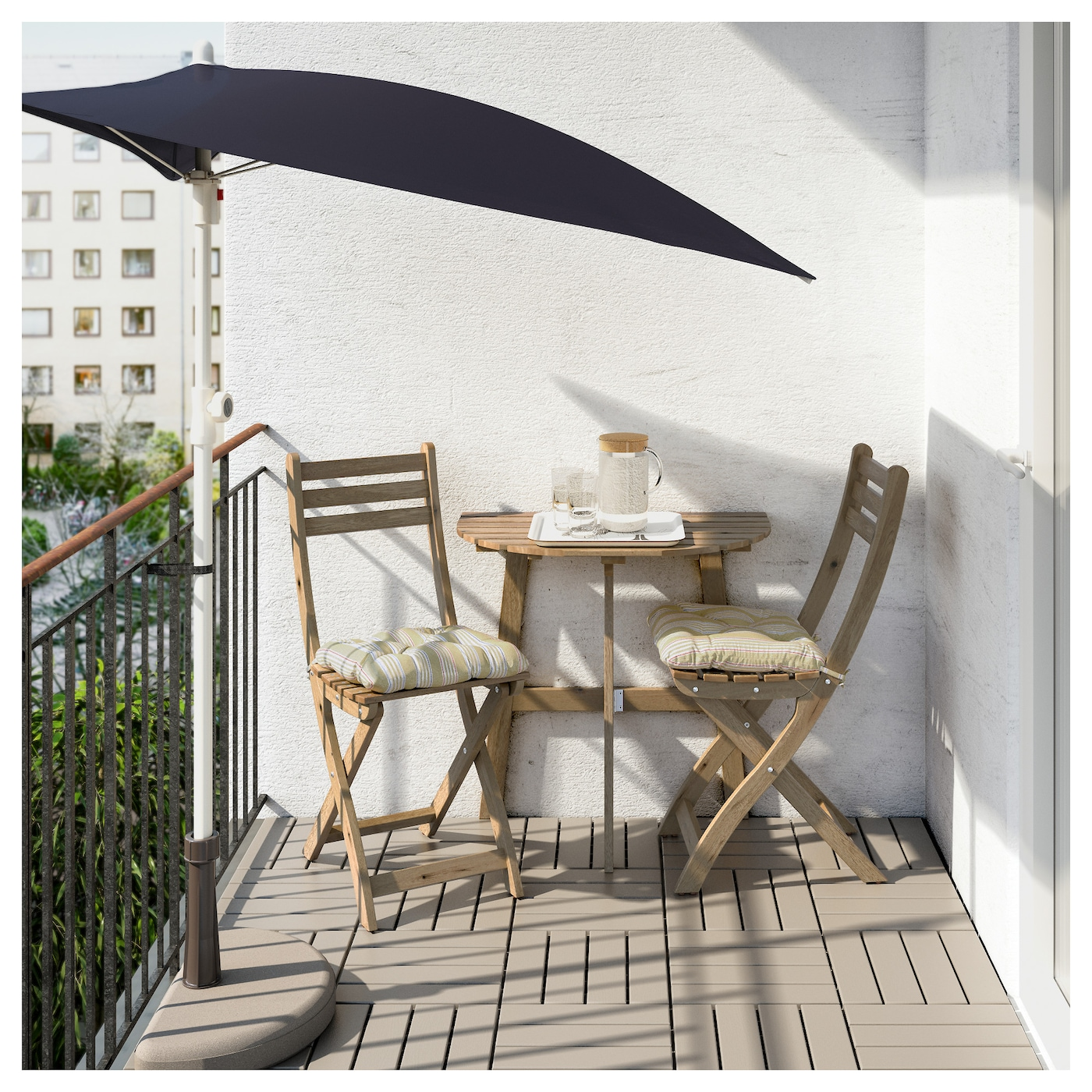 IKEA ASKHOLMEN table f wall+2 fold chairs, outdoor