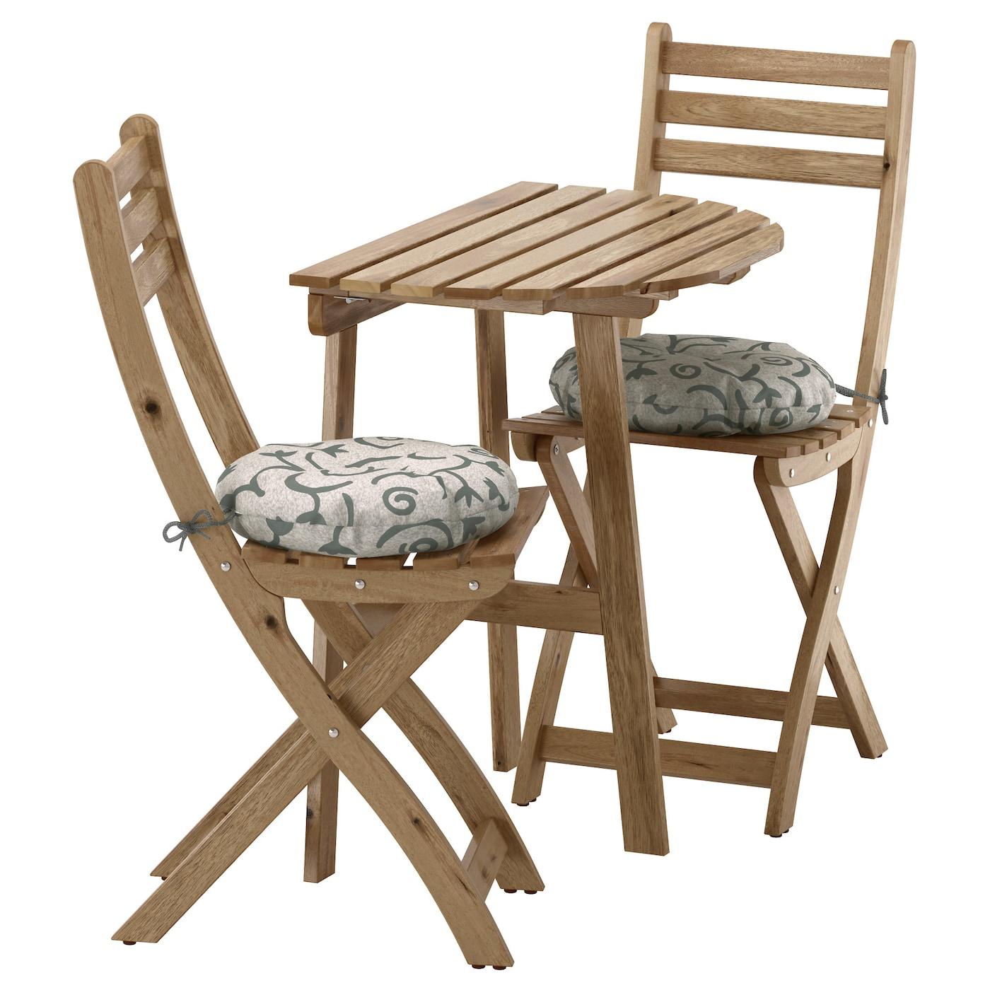 ASKHOLMEN Table f wall 2 fold chairs outdoor Grey brown stegön