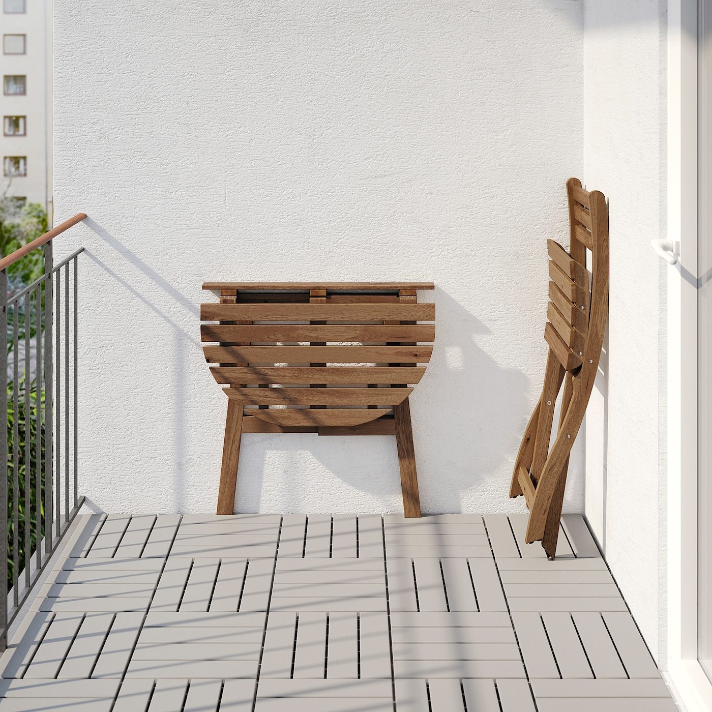 ASKHOLMEN Table for wall+1 fold chr, outdoor grey brown stained