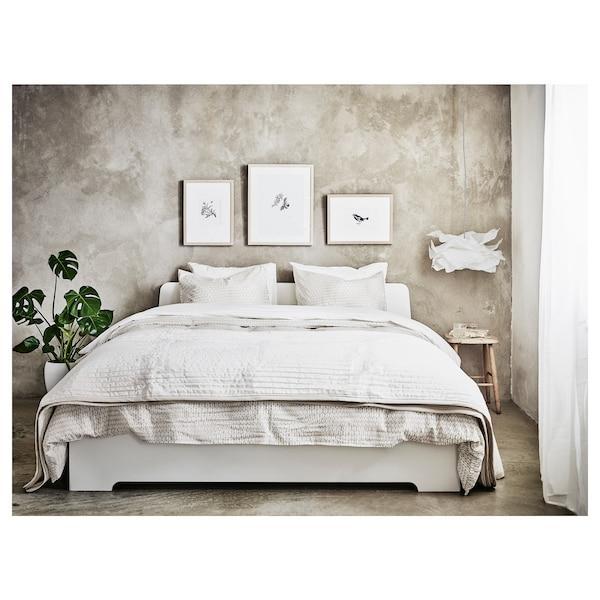 ASKVOLL Bed frame, white/Lönset, Standard Double