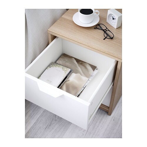 ASKVOLL Chest Of 2 Drawers White Stained Oak Effect/white