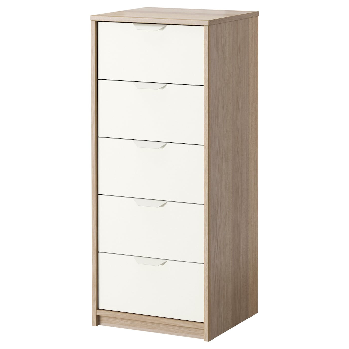 ASKVOLL Chest of 5 drawers White stained oak effect white