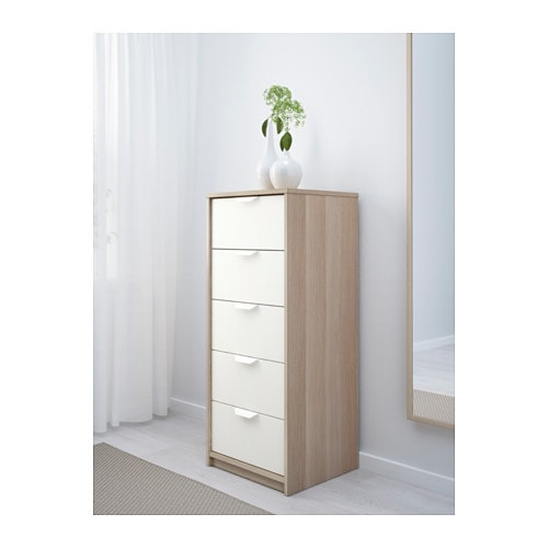 ASKVOLL Chest Of 5 Drawers White Stained Oak Effect/white