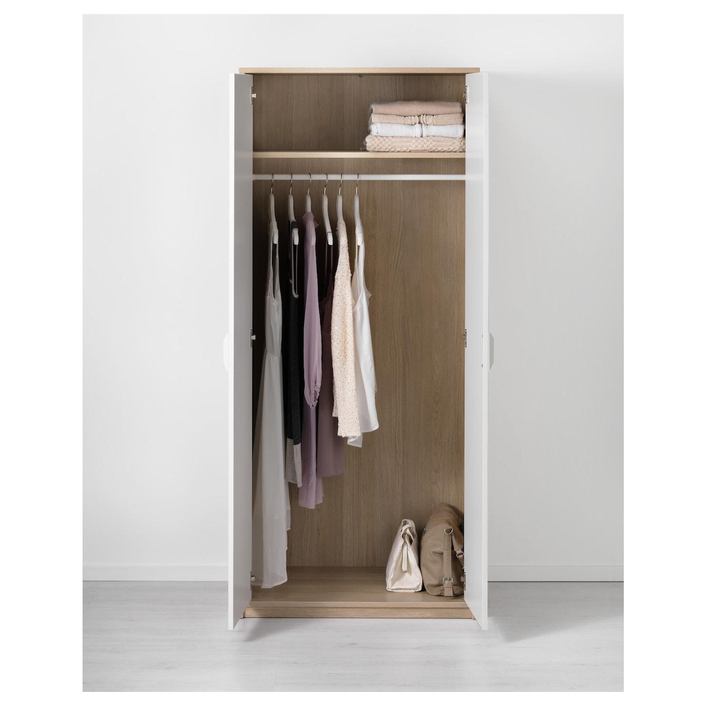 ASKVOLL Wardrobe White Stained Oak Effect/white 80 X 52 X