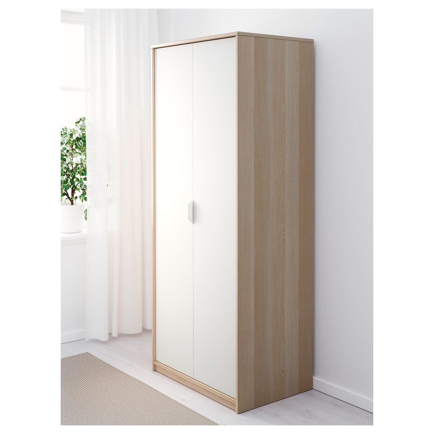 ASKVOLL Wardrobe White Stained Oak Effectwhite Xx Cm IKEA - Ikea wardrobe