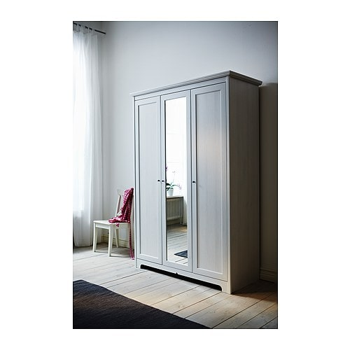 triple 3 door ikea aspelund wardrobe with mirror white 6 months old. Black Bedroom Furniture Sets. Home Design Ideas