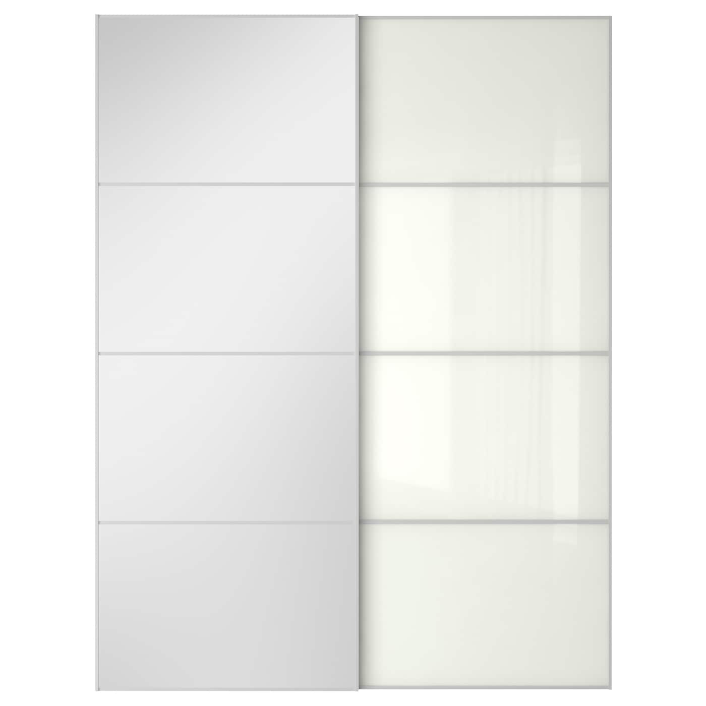 auli f rvik pair of sliding doors mirror glass white glass. Black Bedroom Furniture Sets. Home Design Ideas