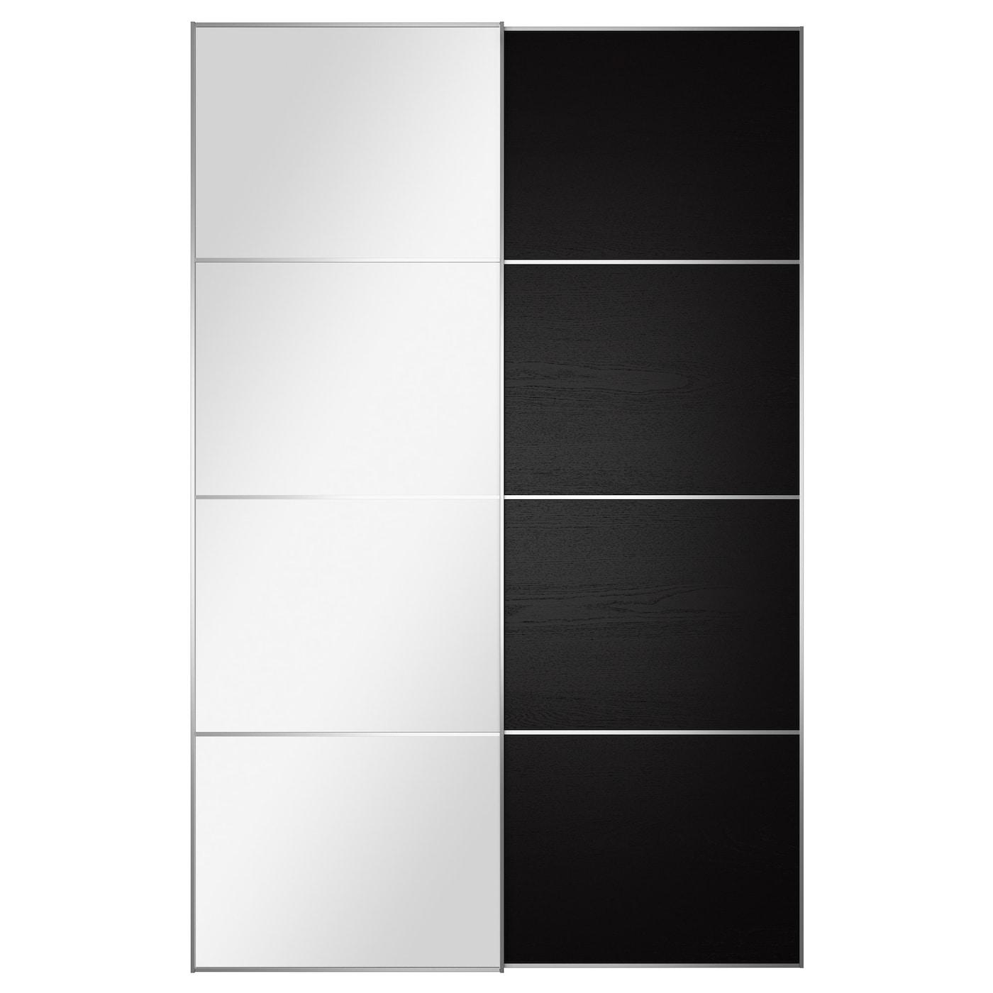 AULI ILSENG Pair of sliding doors Mirror glass black brown 150x236