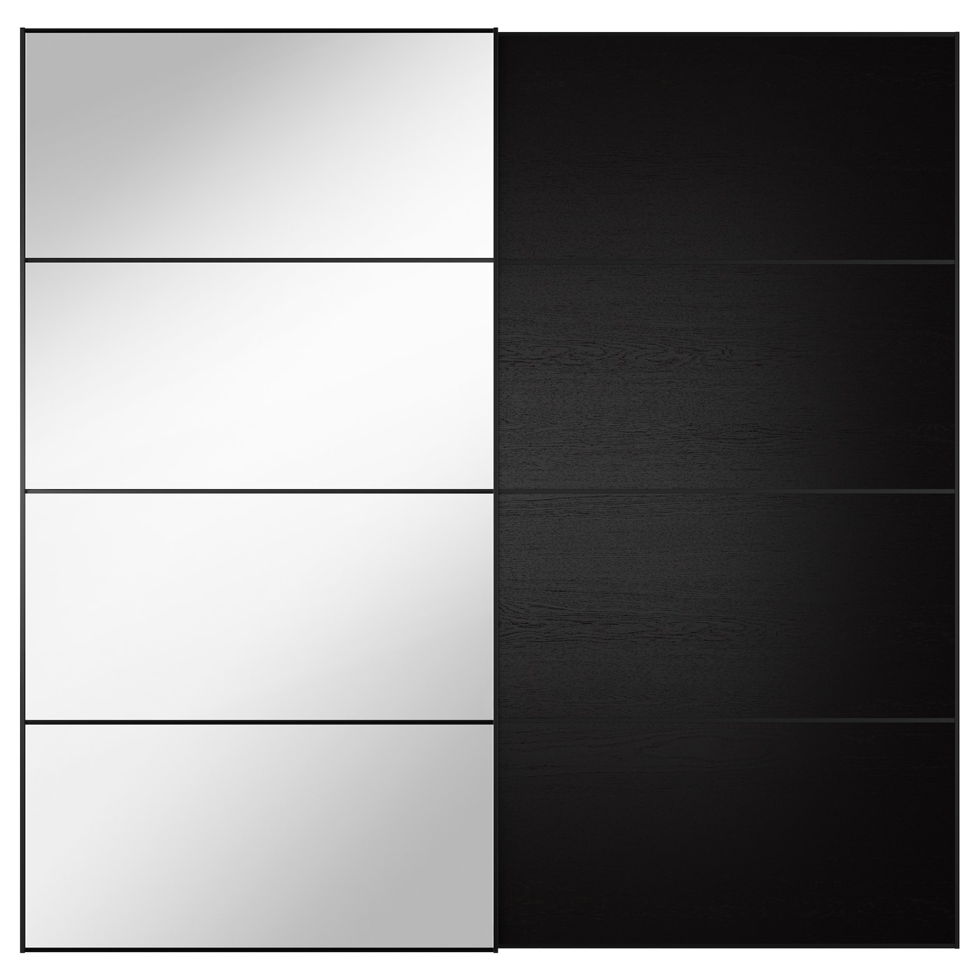Auli Ilseng Pair Of Sliding Doors Mirror Glass Black Brown 200x201 Cm Ikea
