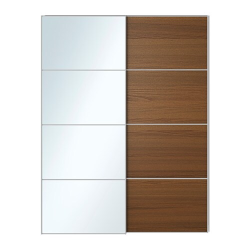 Sliding Doors Mirror Glass Brown Stained Ash Veneer 150x201 Cm IKEA
