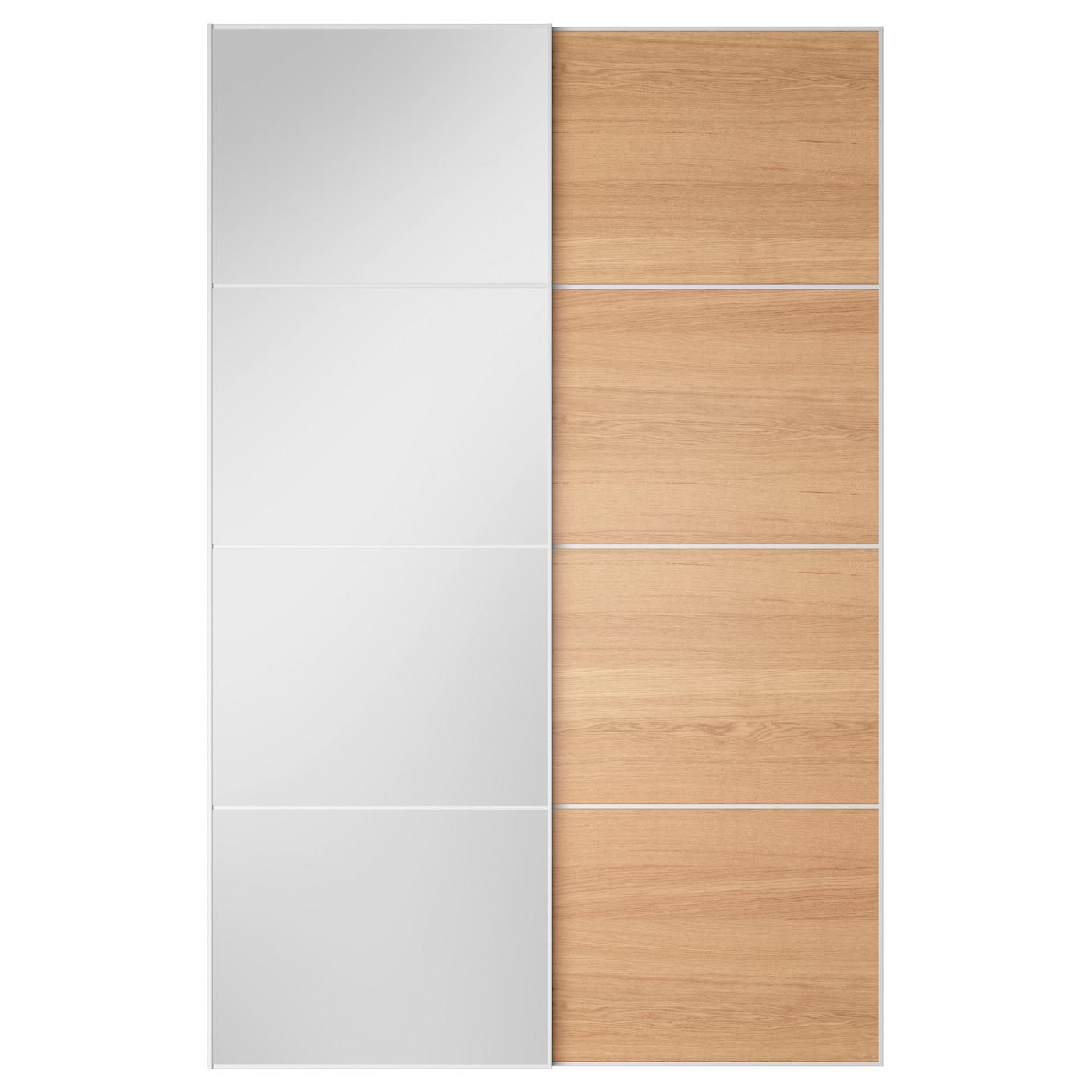 AULI ILSENG Pair Of Sliding Doors Mirror Glass Oak Veneer 150x236 Cm IKEA