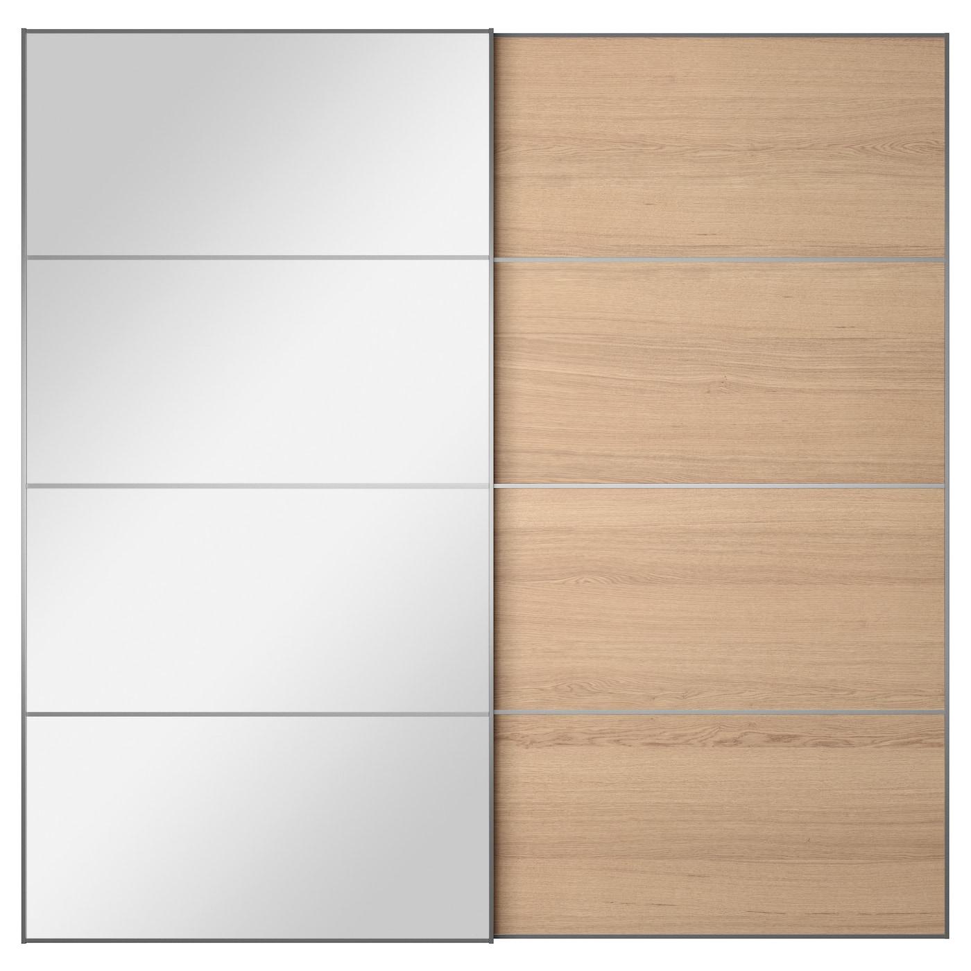 IKEA AULI ILSENG pair of sliding doors. AULI ILSENG Pair of sliding doors Mirror glass white stained oak