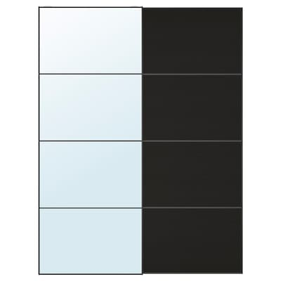 AULI / MEHAMN Pair of sliding doors, mirror glass/black-brown stained ash effect, 150x201 cm