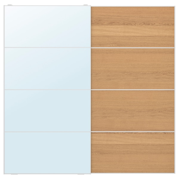 AULI / MEHAMN Pair of sliding doors, mirror glass/oak effect, 200x201 cm