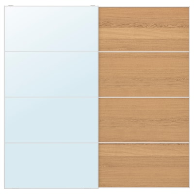 AULI / MEHAMN Pair of sliding doors, mirror glass/oak effect, 200x201 cm