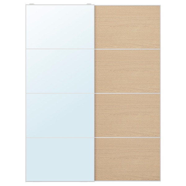 AULI / MEHAMN Pair of sliding doors, mirror glass/white stained oak effect, 150x201 cm