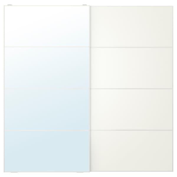 AULI / MEHAMN Pair of sliding doors, mirror glass/white, 200x201 cm