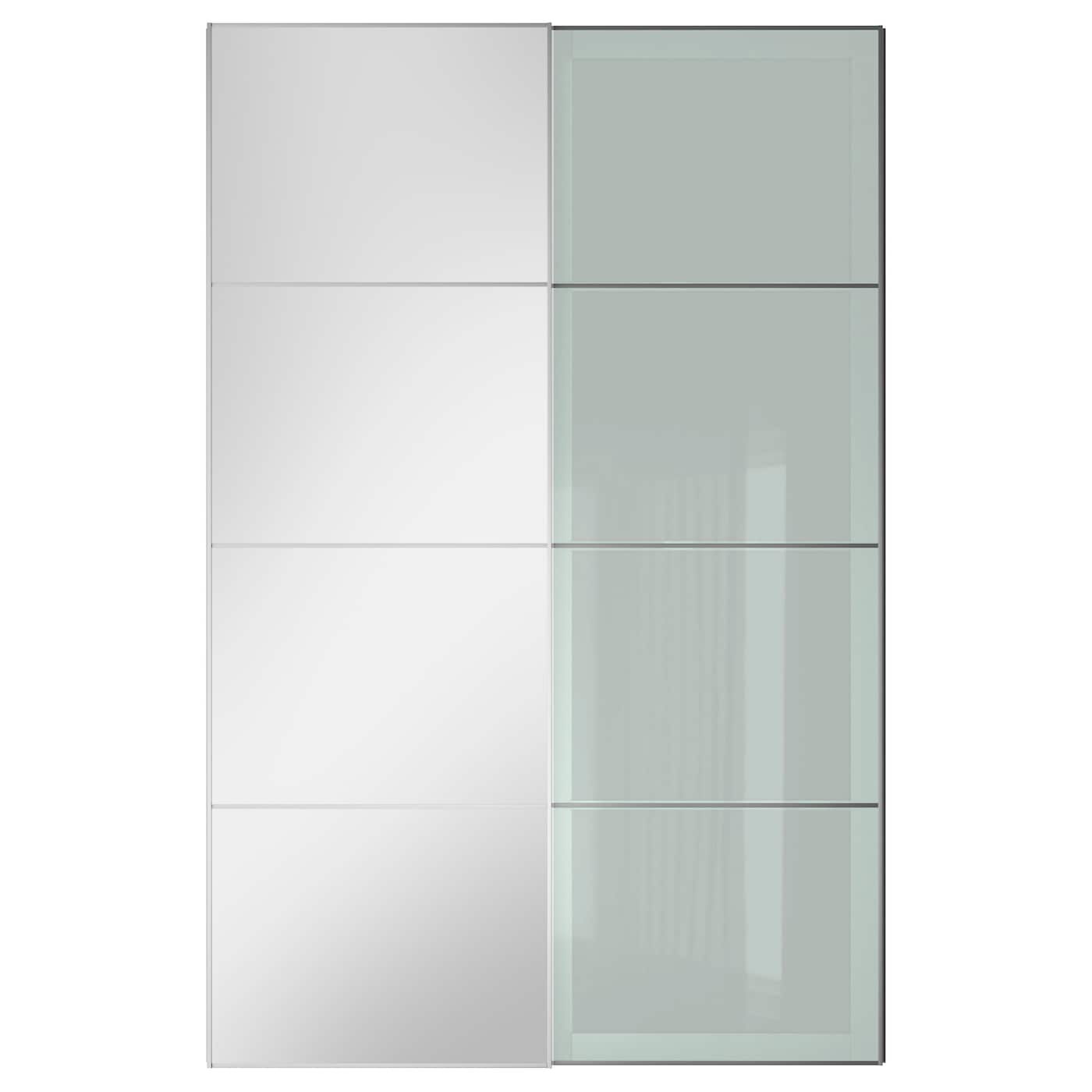 Auli sekken pair of sliding doors mirror glass frosted for Frosted glass sliding doors