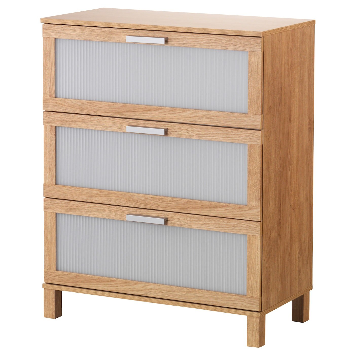 IKEA AUSTMARKA chest of 3 drawers Smooth running drawer with pull-out stop.