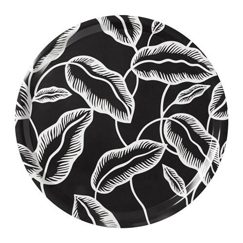 Avsiktlig Tray Black White Leaves 43 Cm Ikea
