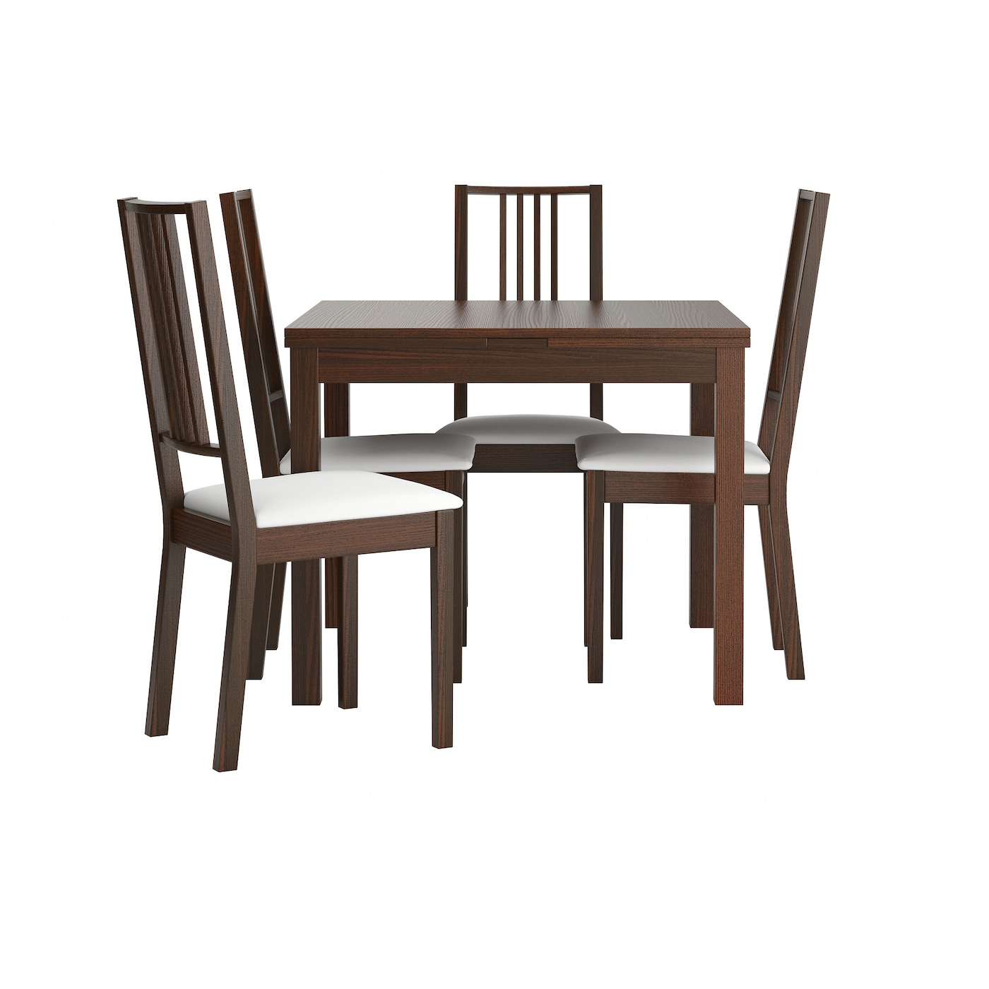 B rje bjursta table and 4 chairs brown gobo white 90 cm ikea for Ikea dining table and chairs set