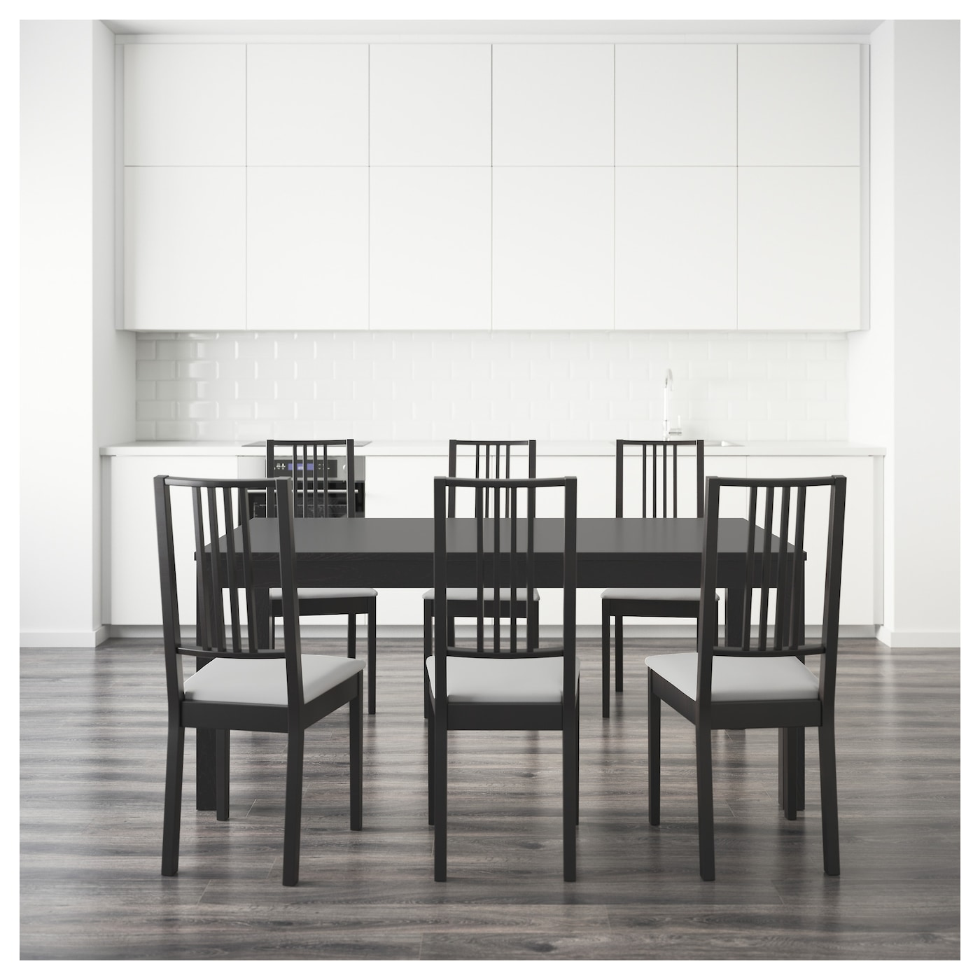 B rje bjursta table and 6 chairs brown black gobo white for Table ikea 6 99