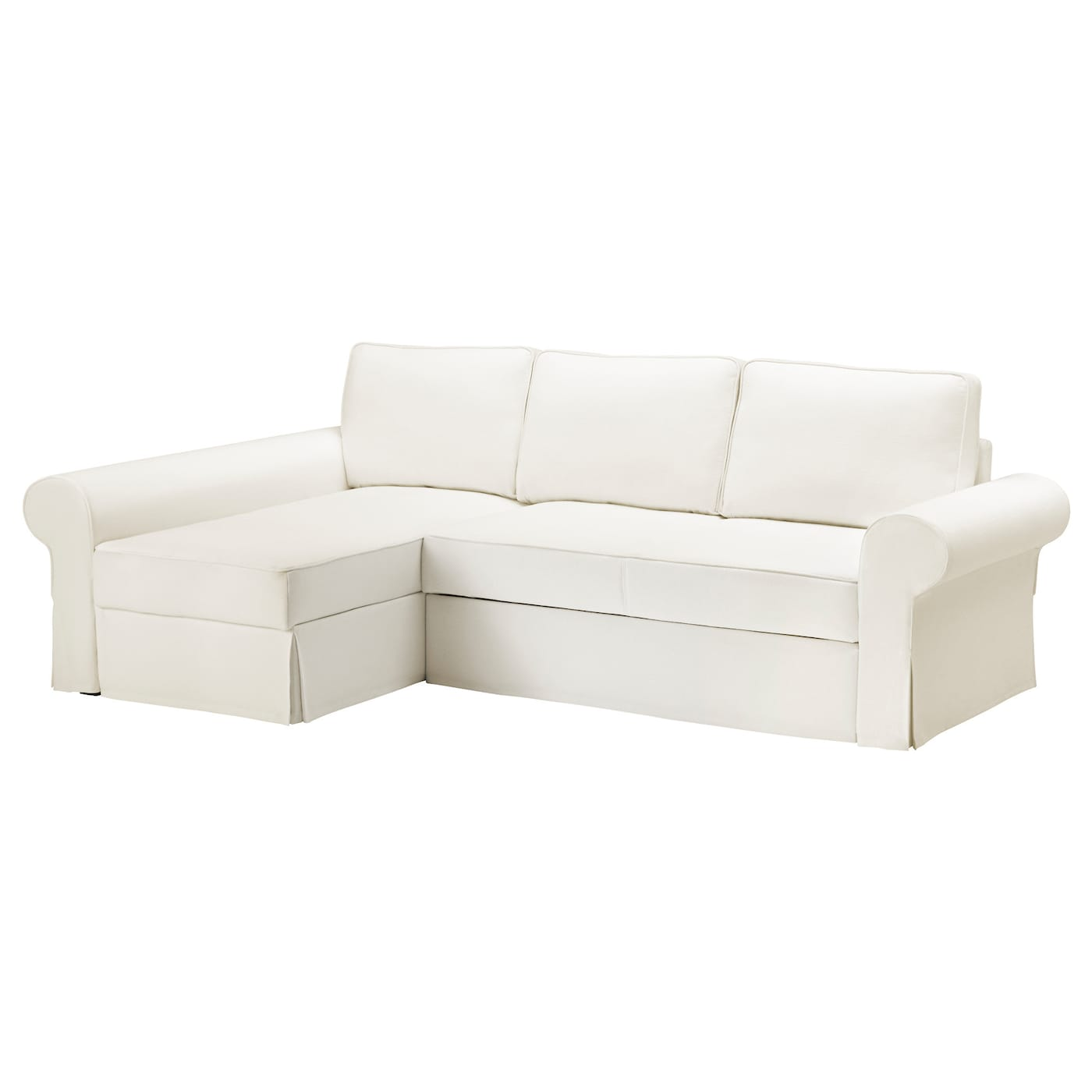 Backabro cover sofa bed with chaise longue hylte white ikea for Chaise longue jardin ikea