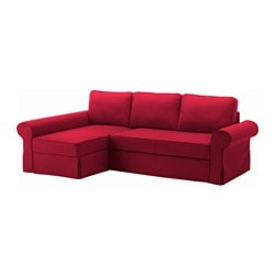 BACKABRO Cover sofa bed with chaise longue Nordvalla red IKEA