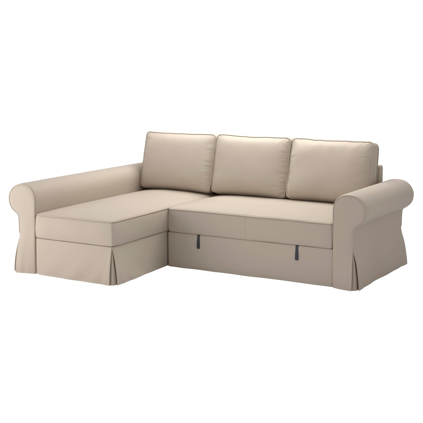 Backabro cover sofa bed with chaise longue ramna beige ikea for Chaise couch slipcover