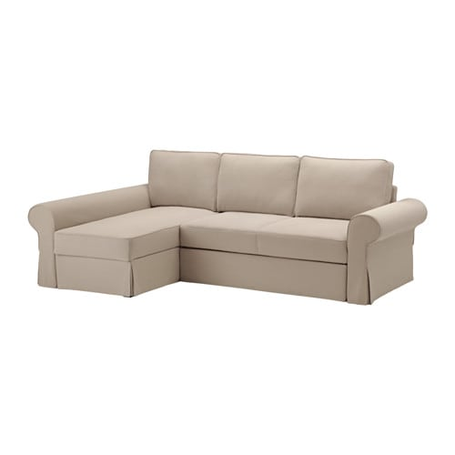 Backabro sofa bed with chaise longue hylte beige ikea for Chaise lounge cama