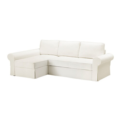 BACKABRO Sofa bed with chaise longue Hylte white IKEA