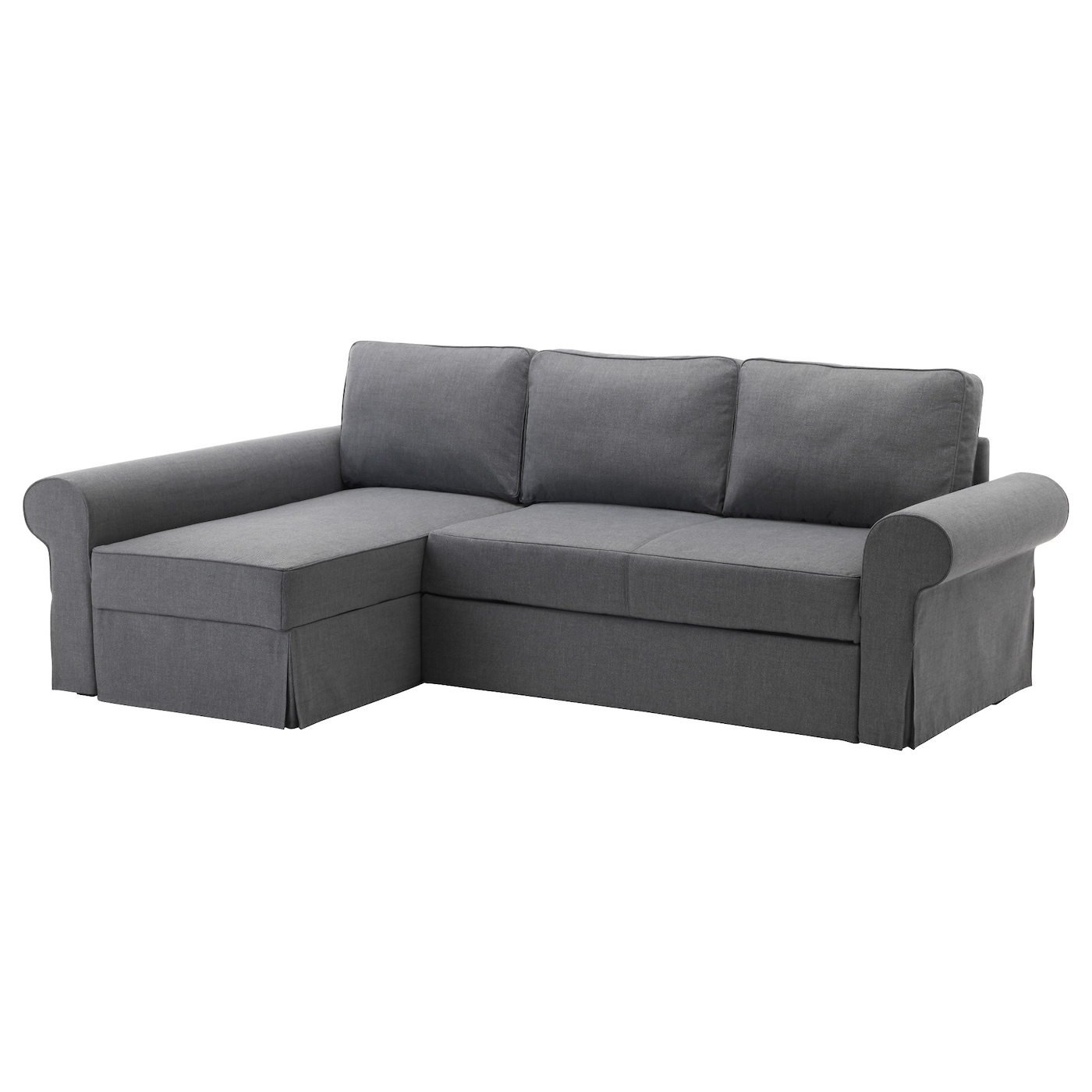Backabro sofa bed with chaise longue nordvalla dark grey for Cama convertible ikea