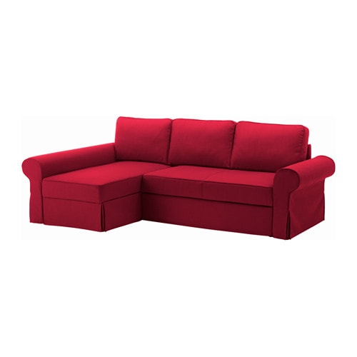 BACKABRO Sofa bed with chaise longue Nordvalla red IKEA