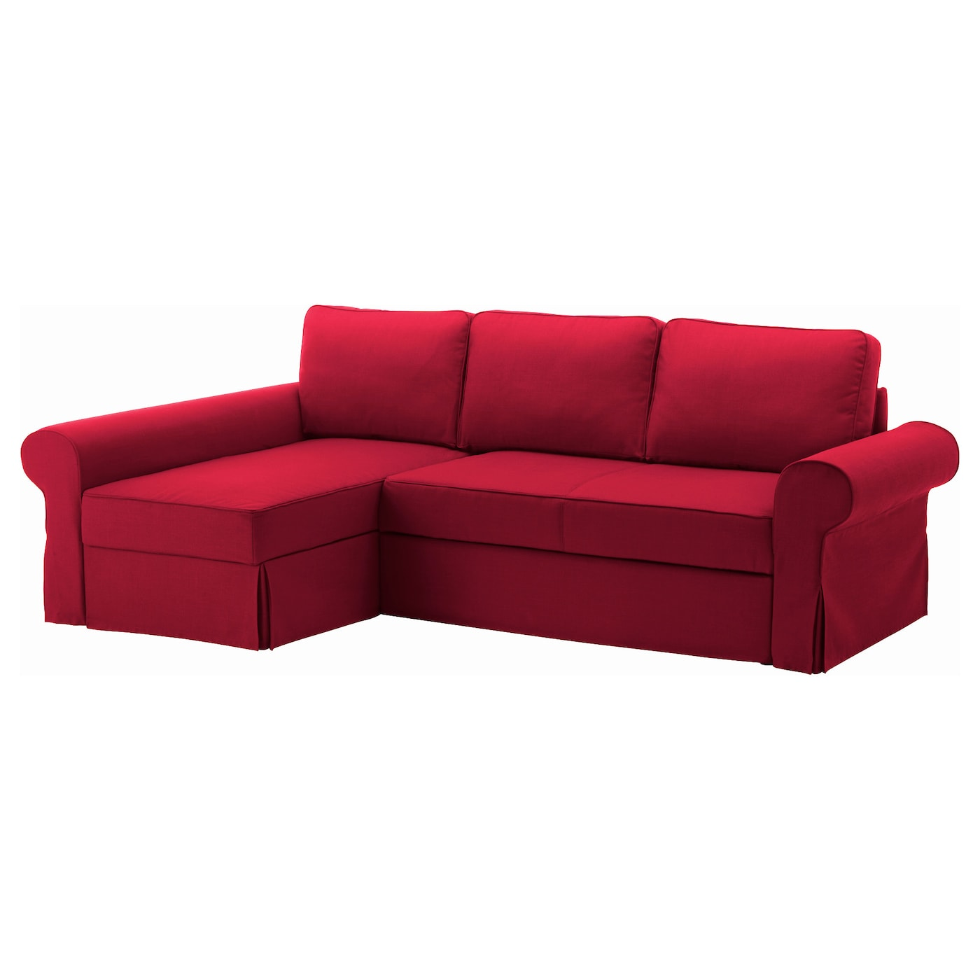 Backabro sofa bed with chaise longue nordvalla red ikea for Chaise lounge convertible bed