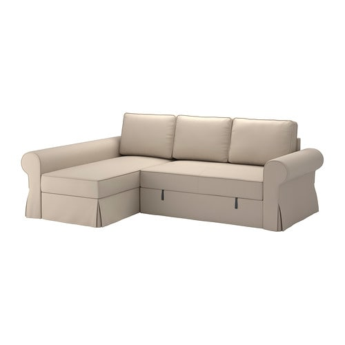Backabro sofa bed with chaise longue ramna beige ikea for Chaise longue sofa cama