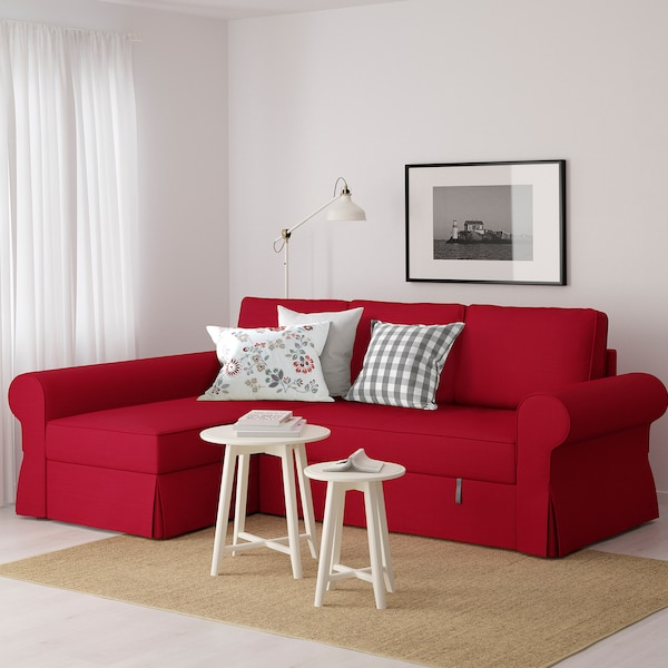 Swell Sofa Bed With Chaise Longue Backabro Nordvalla Red Uwap Interior Chair Design Uwaporg