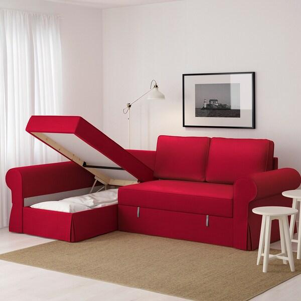 Backabro Sofa Bed With Chaise Longue Nordvalla Red Ikea