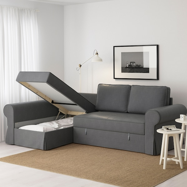 Ikea Chaise Longue Slaapbank.Backabro Nordvalla Dark Grey Sofa Bed With Chaise Longue Ikea