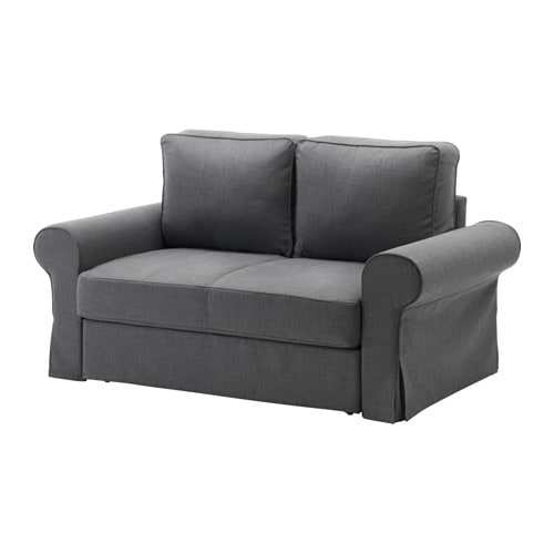 Backabro two seat sofa bed nordvalla dark grey ikea - Canape pour petit espace ...