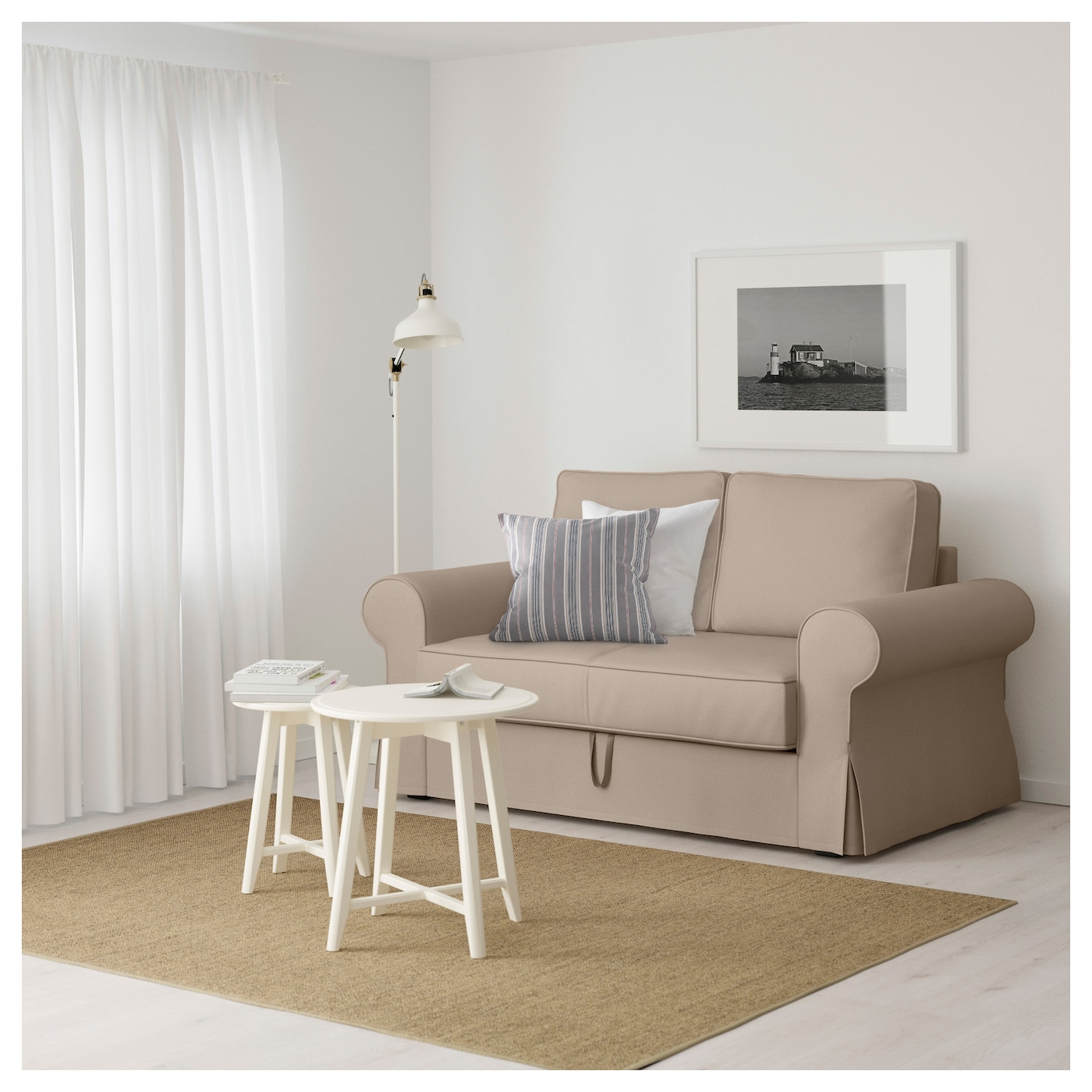BACKABRO Two seat sofa bed Ramna beige IKEA