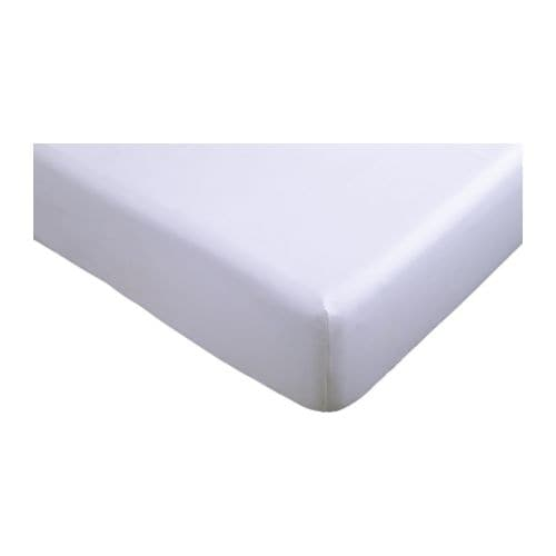 IKEA BACKNEJLIKA fitted sheet Cotton, feels soft and nice against your skin.