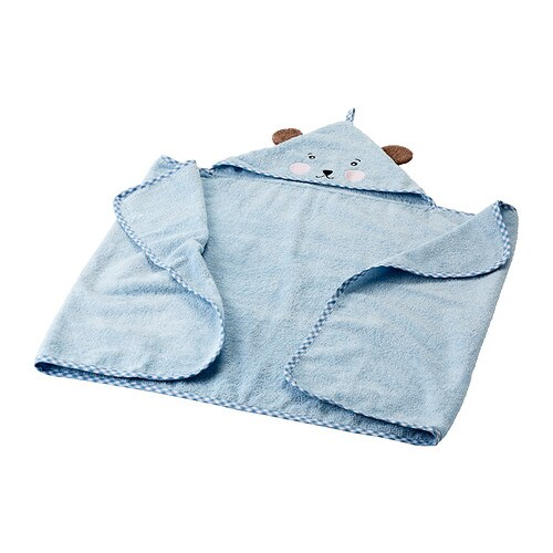 BADET Baby towel with hood IKEA Cotton, soft and nice to baby skin.  The loop makes it easy to hang on a knob or hook.