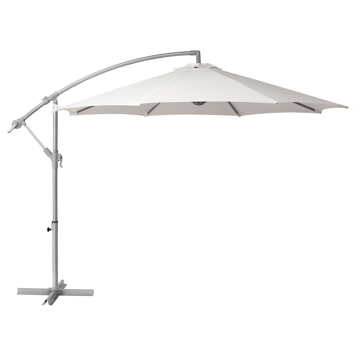 IKEA BAGGÖN parasol, hanging The parasol is easy to open or close by using the crank.