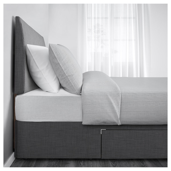 BALESTRAND Divan bed with 2 drawers, Skiftebo grey, Standard Double