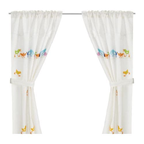 BARNSLIG RINGDANS Curtain with tie-back IKEA Ready to hang; hidden tabs at top give the same effect as pleating tape, hemmed bottom edge.