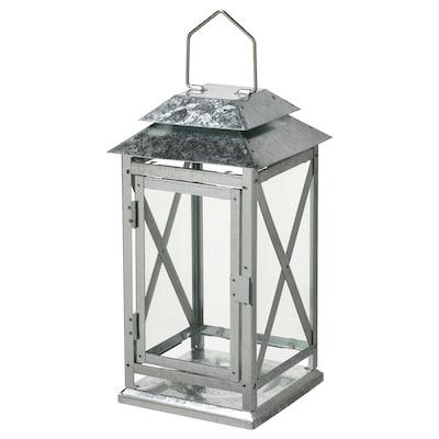 BEFÄSTA Lantern f block candle, in/outdoor, galvanised, 29 cm