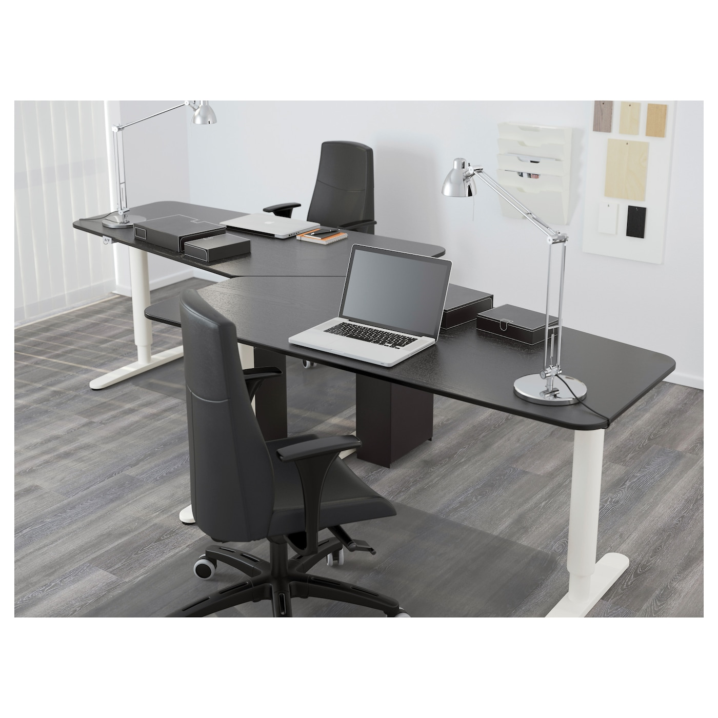 bekant 5 sided desk sit stand black brown white 160x80 cm ikea. Black Bedroom Furniture Sets. Home Design Ideas