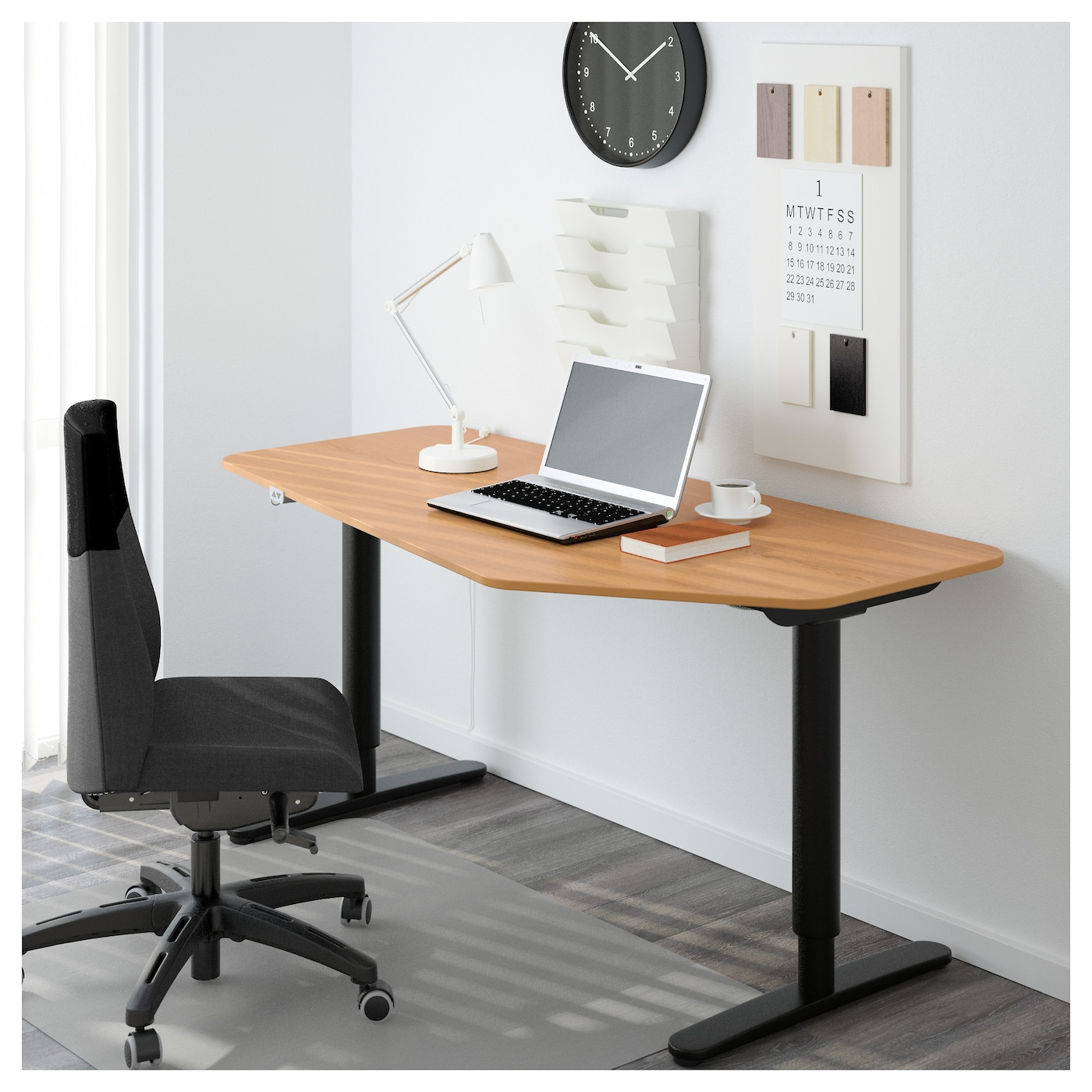 bekant 5 sided desk sit stand oak veneer black 160x80 cm ikea. Black Bedroom Furniture Sets. Home Design Ideas