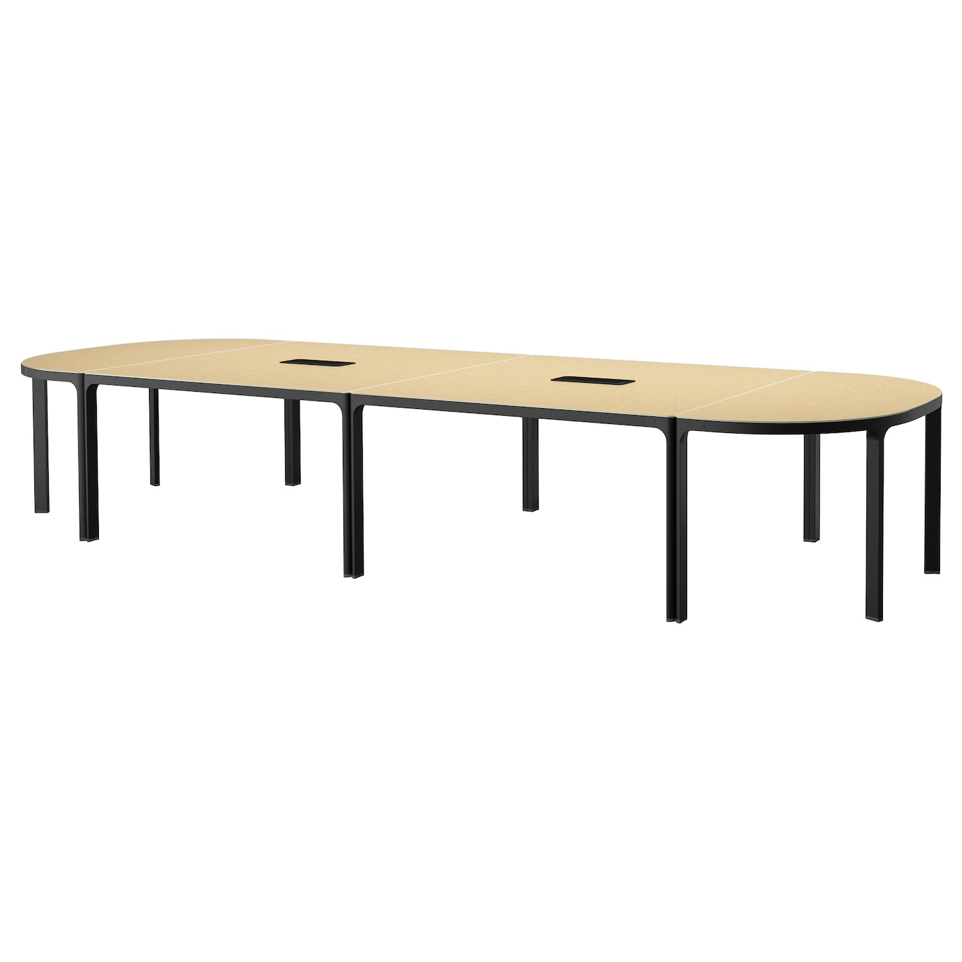 Bekant conference table birch veneer black 420x140 cm ikea for Table salle a manger 80 cm largeur