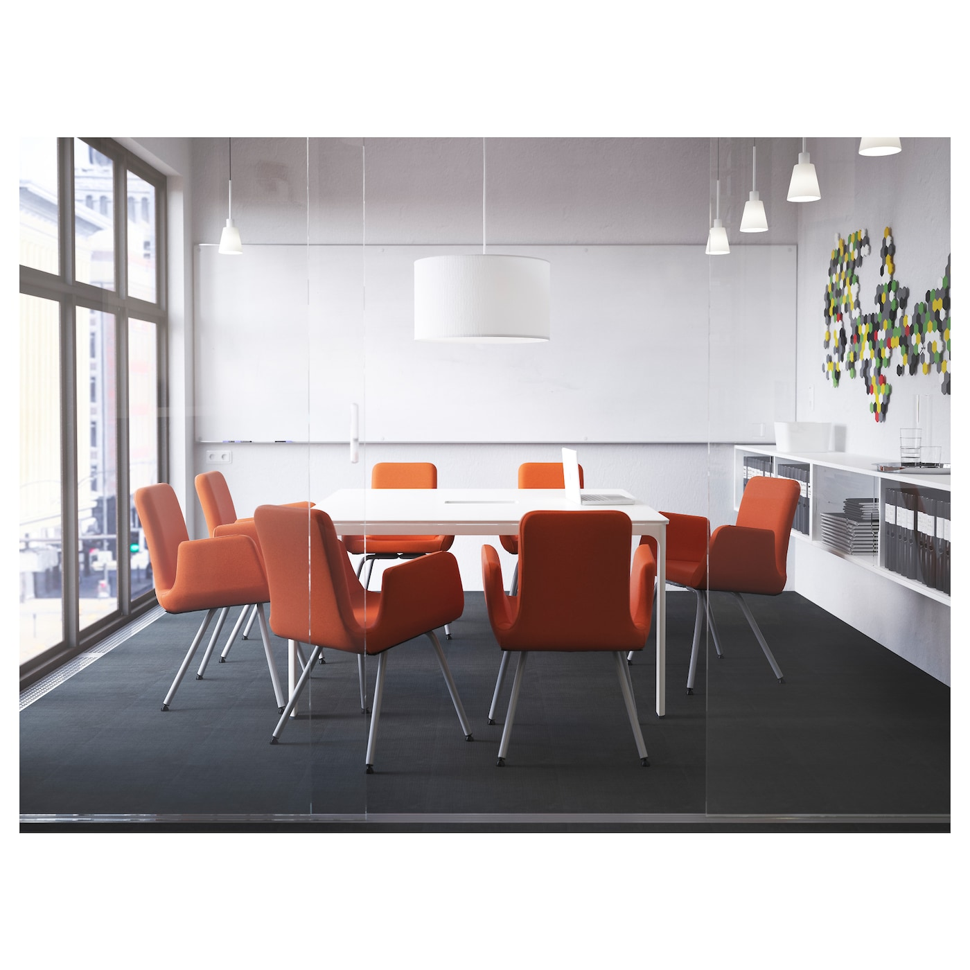 BEKANT Conference table White 140×140 cm  IKEA
